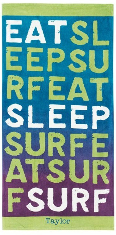 Eat Sleep Surf Purple Beach Towel