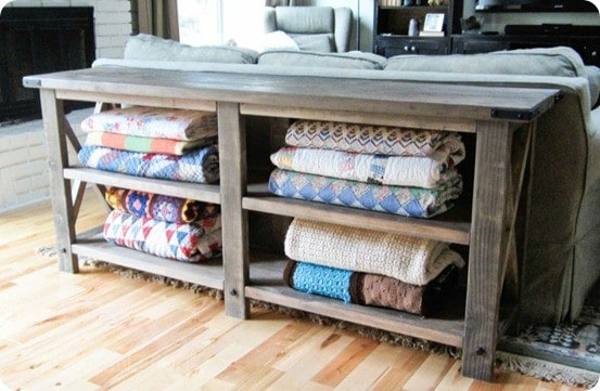 Rustic x console for Living room blanket storage