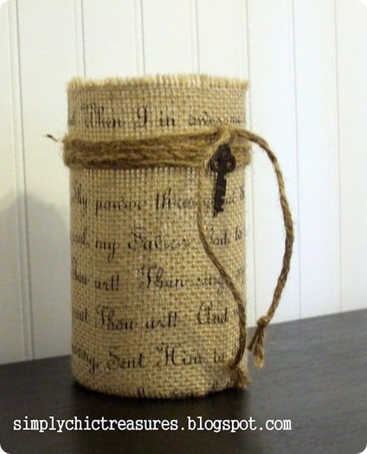 burlap vase with hymn