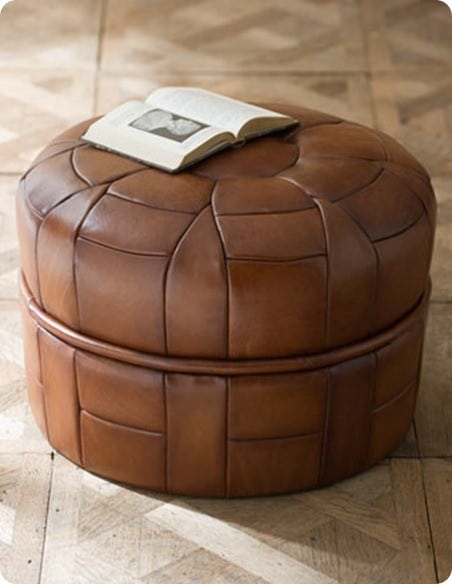 horchow petal leather pouf