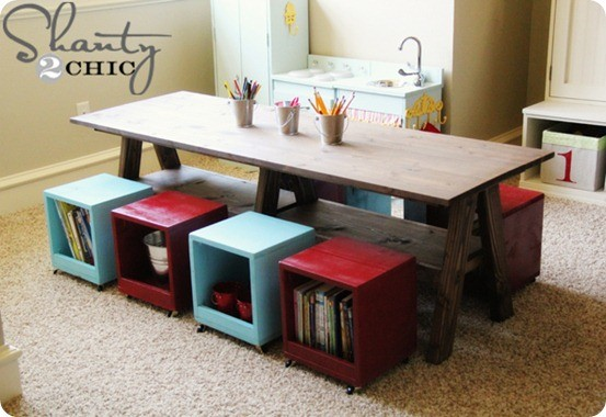 kids activity table with rolling storage cubes