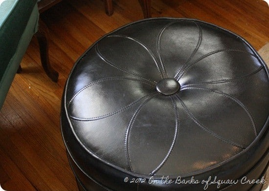knock off leather pouf