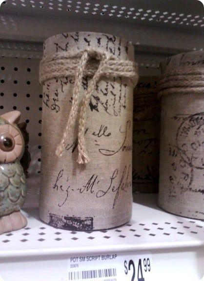 michaels burlap vase