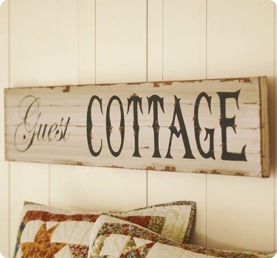 pottery barn guest cottage sign