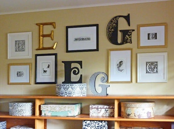 letter gallery wall