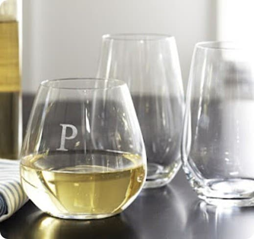 pottery barn monogrammed wine glasses