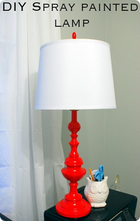 red spray painted lamp