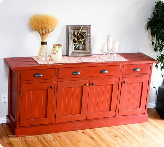 rustic red sideboard
