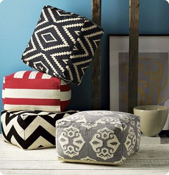 west elm floor poufs