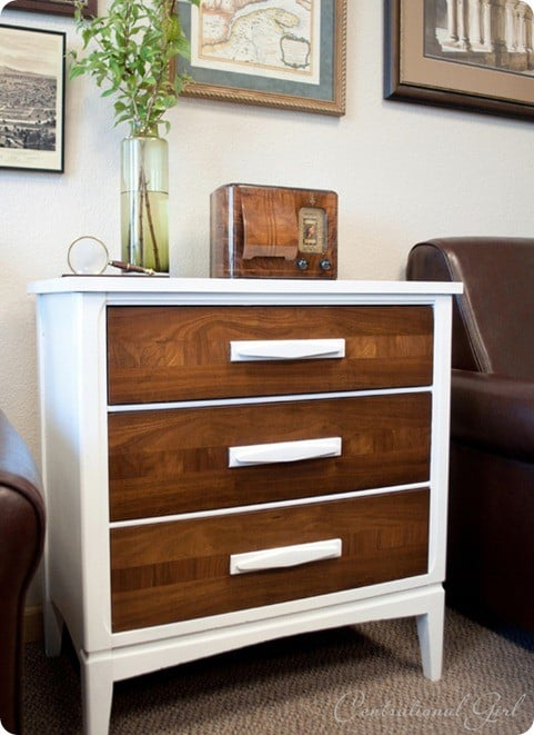 white wood chest side view