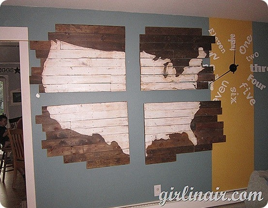 wooden us wall map