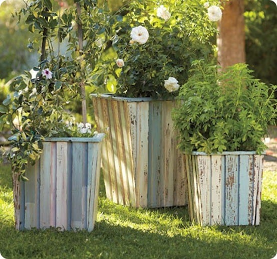 Pottery Barn Reclaimed Wood Planter Set