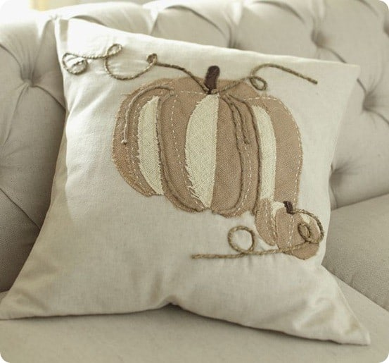 Pumpkin Applique Pillow Cover