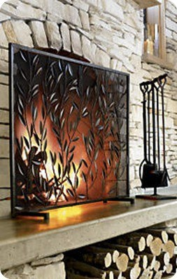 Rustic Botanical Fireplace Screen