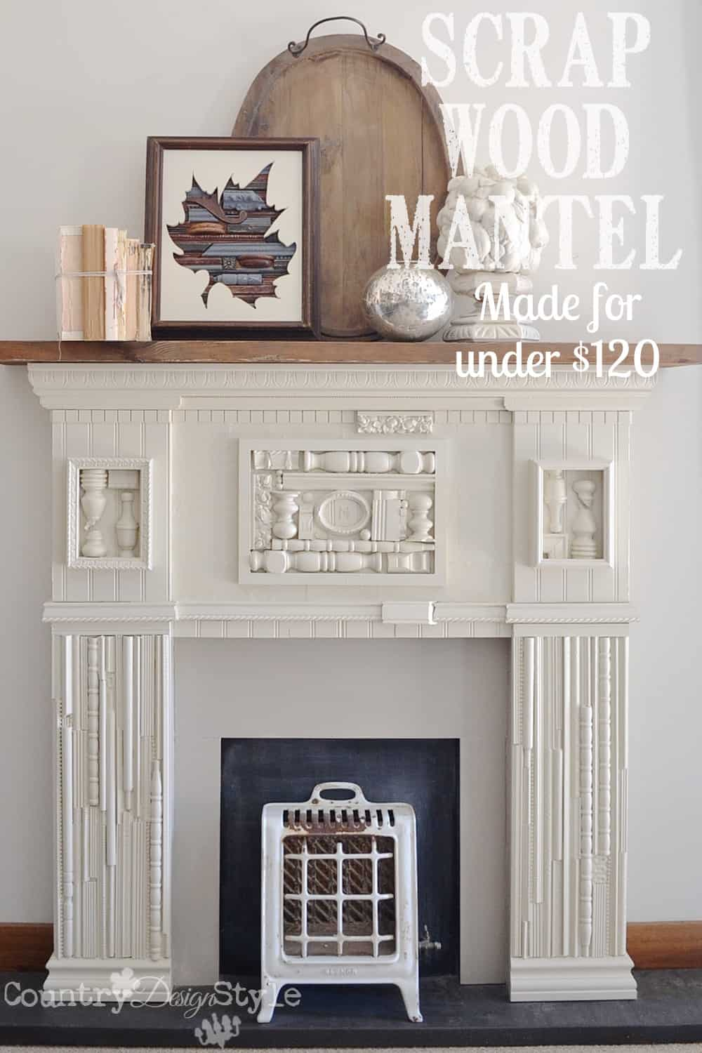 DIY Mantel Ideas | This amazing mantel was made using pieces of scrap wood, trim, spindles, etc. I love this creative mantel idea and that anyone with basic woodworking skills can make one!