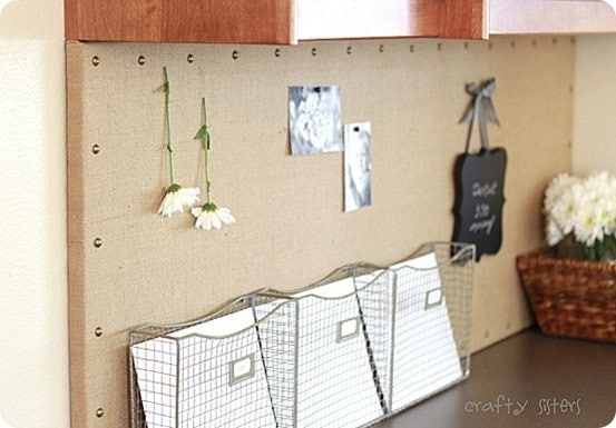 burlap message board with nailhead trim