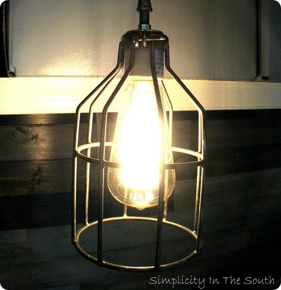 diy caged metal pendant light