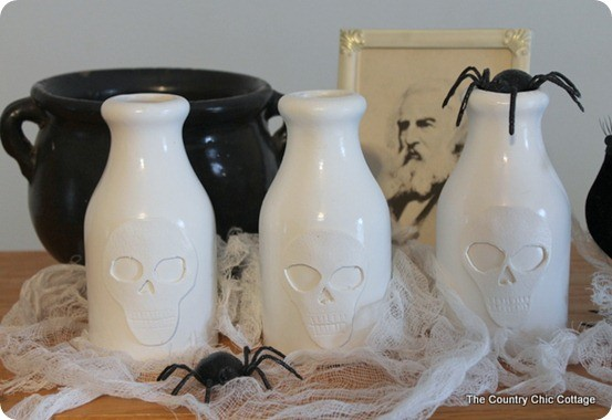 diy pb inspired skull vases