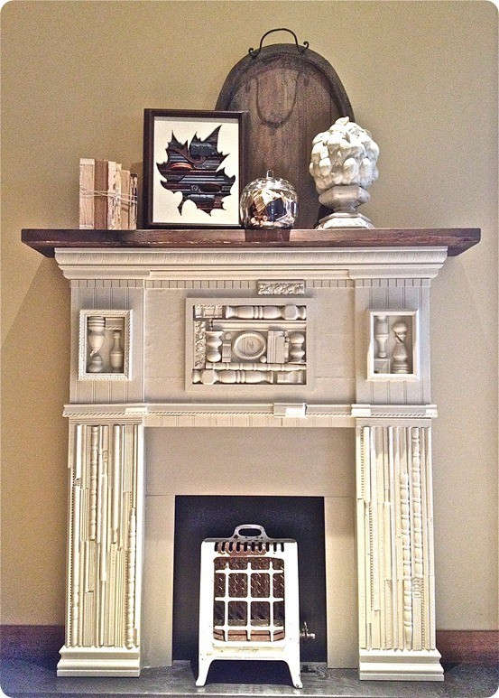 faux wood fireplace with mantel