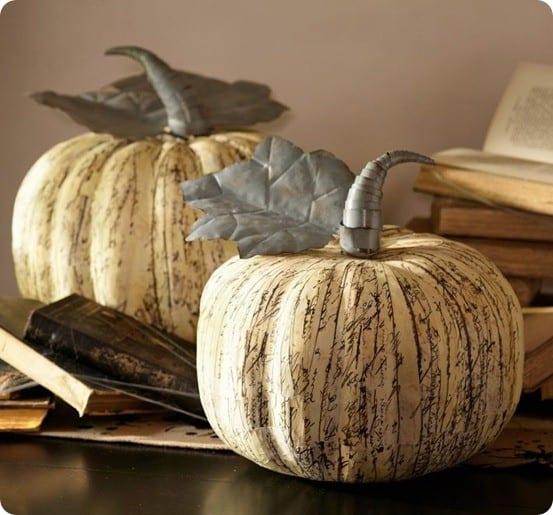newsprint paper mache pumpkins