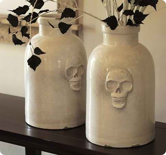 pottery barn skull ceramic vase