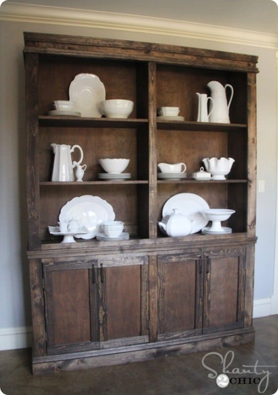 Rustic Wood Sideboard And Hutch