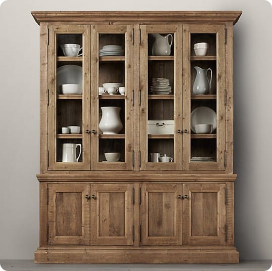 salvaged wood wide sideboard and hutch