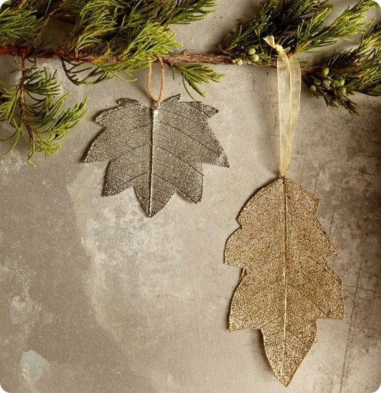 METALLIC LEAF ORNAMENTS