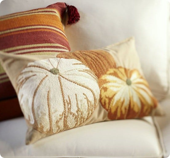 PUMPKIN EMBROIDERED LUMBAR PILLOW COVER
