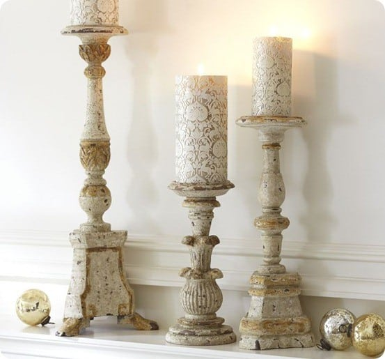 WHITE & GOLD WOODEN PILLAR HOLDERS