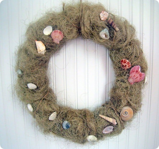 beachy shell wreath