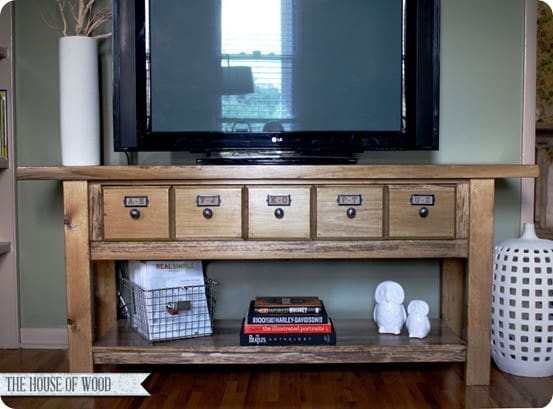 DIY Furniture | Pottery Barn Knock Off Apothecary Media Console ~ I love how the reclaimed wood top adds a rustic element!