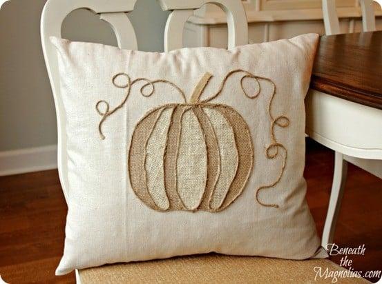 Fall No Sew Burlap Pumpkin Pillow