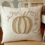 pumpkin applique pillow