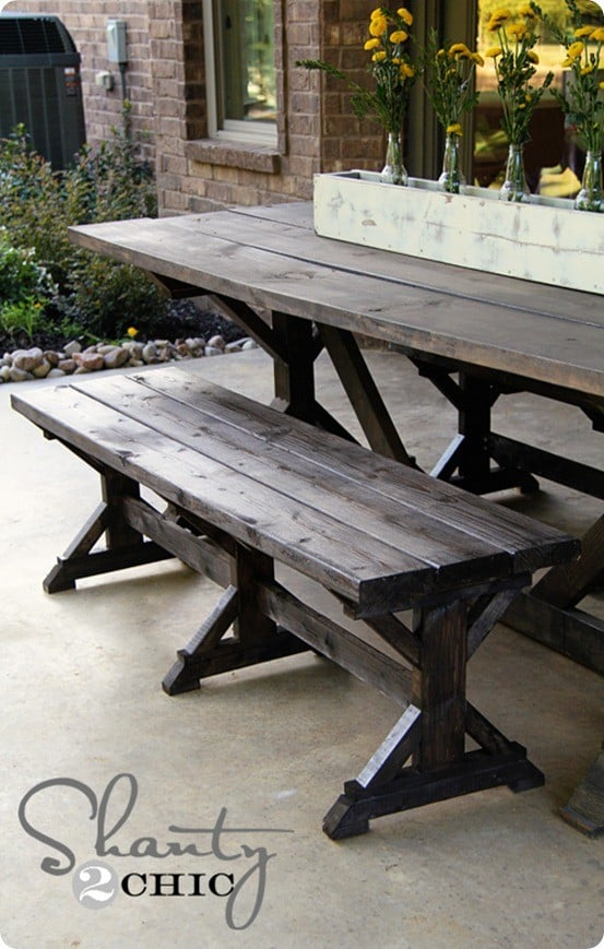 Farmhouse Outdoor Dining Bench