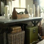 rustic x console table with metal top