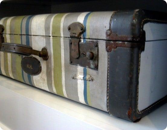 striped vintage suitcase