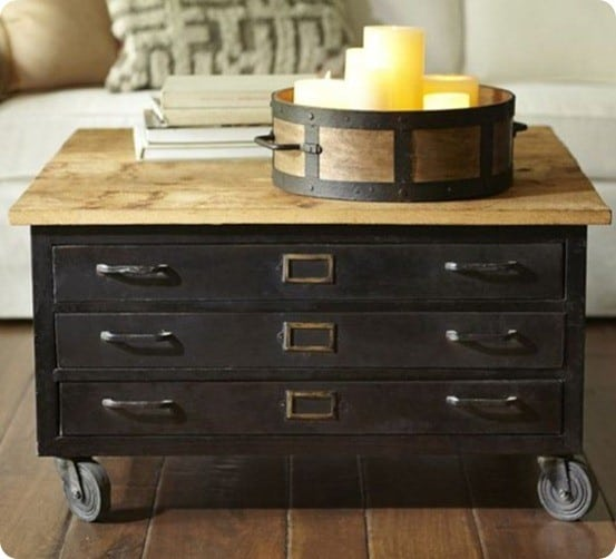 Pottery Barn Library Flat File Coffee Table