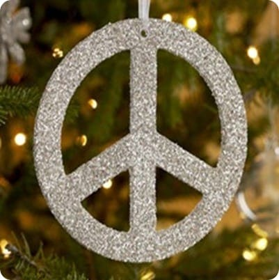 Thick German Glitter Peace Sign Ornament