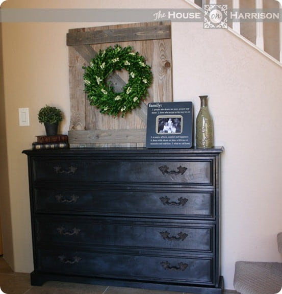 DIY Furniture ~ Get the free wood plans to build this shoe dresser. You get a beautiful entryway console with the shoes hidden inside!