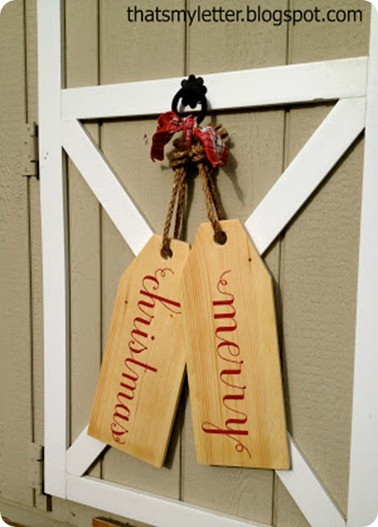 Christmas Decorating Ideas ~ I love this idea of making Christmas door tags instead of a traditional wreath!