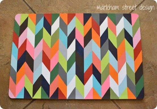 colorful chevron kitchen mat