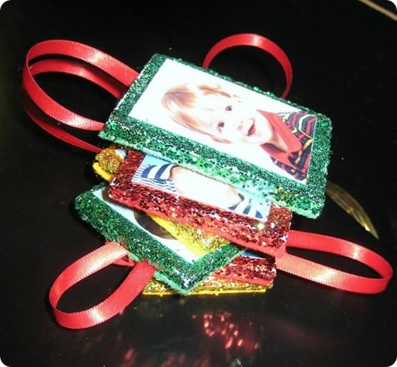 diy glitter frame ornaments