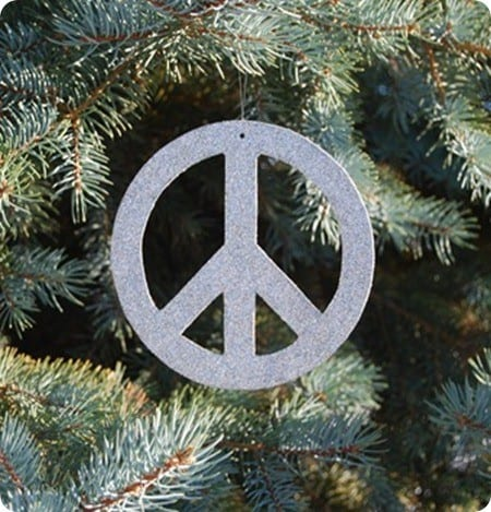 diy glitter peace sign ornament