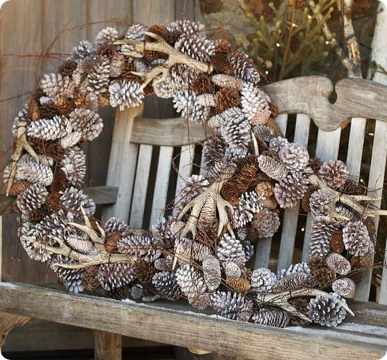 Antler Pinecone Wreath