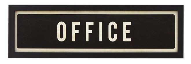 framed office sign