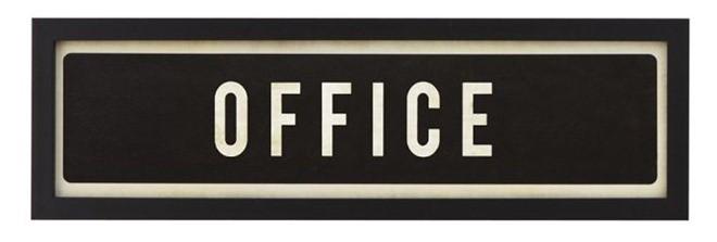 framed office sign