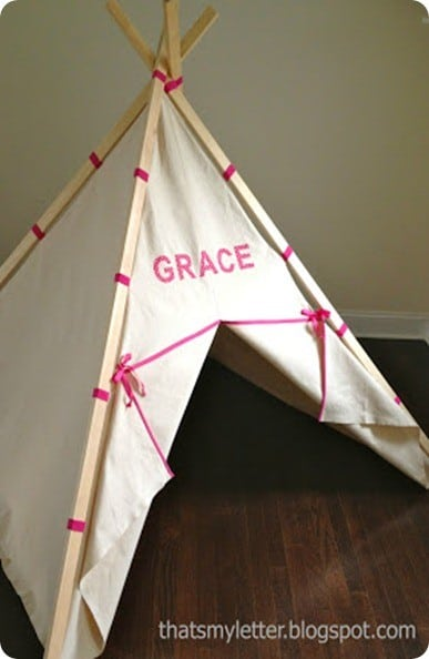 DIY Gift Ideas ~ Make this kids play teepee for less than $40!