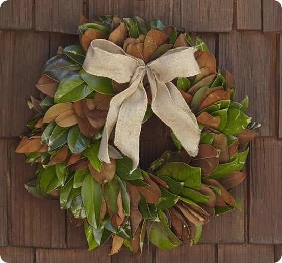 live magnolia leaf wreath with burlap bow