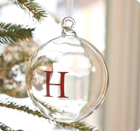 monogrammable glass ball ornament